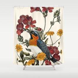 Little Bird and Flowers Shower Curtain