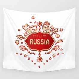 """Russia remembrance gift """"Welcome"""" invitation design travel Wall Tapestry"""