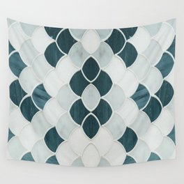 Moroccan Scalloped Flower Teal Wall Tapestry