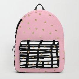 Modern geometrical black pink faux gold polka dots Backpack