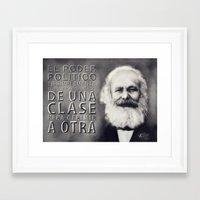 marx Framed Art Prints featuring PORTRAIT OF KARL MARX by Javier Vidorreta