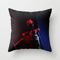 skeleton Throw Pillows featuring Skeleton by Mikhaelle A.