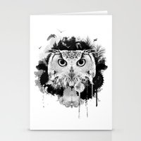 scandinavian Stationery Cards featuring Scandinavian Owl by Le Dous