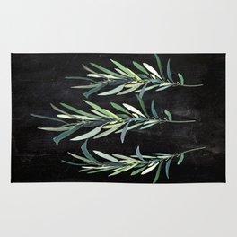Eucalyptus Branches On Chalkboard Rug