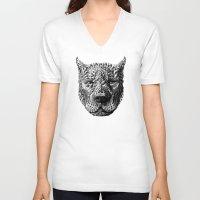 pitbull V-neck T-shirts featuring Pitbull by BIOWORKZ