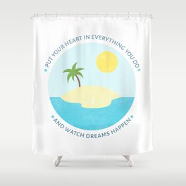 Inspirational round print with landscape Shower Curtain