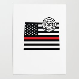 Wyoming Firefighter Shield Thin Red Line Flag Poster