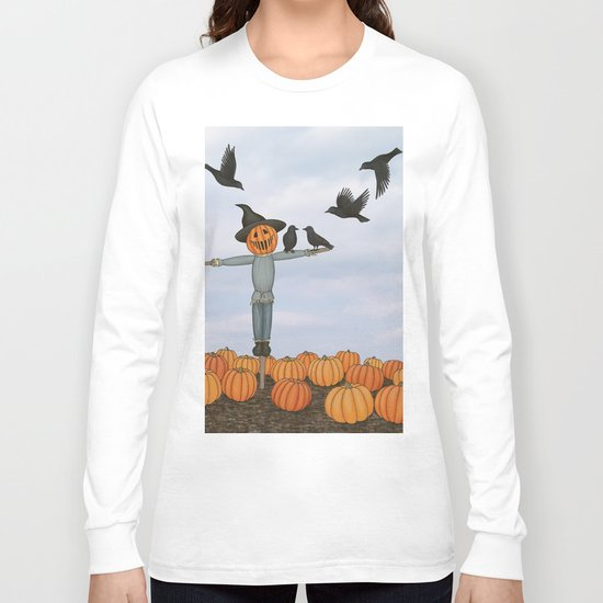 scarecrow and crows in the pumpkin patch Long Sleeve T-shirt