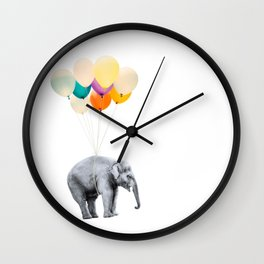 Dreaming Elephant Flying With Colorful Party Balloons Wall Clock
