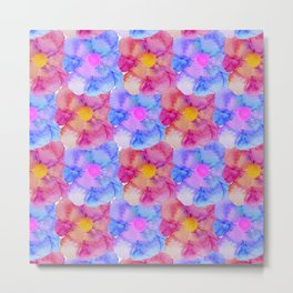 Artsy Pink Blue and Purple Watercolor Flowers Metal Print