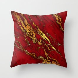 Chic Elegant Fire Red Ombre Glitter Marble Throw Pillow