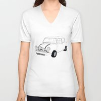 mini cooper V-neck T-shirts featuring The Italian Job Blue Mini Cooper by Martin Lucas