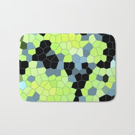 Cell Print Home Decor Graphic Design Pastel Colors Green Grey Blue Black Mint Lime Kiwi Bath Mat