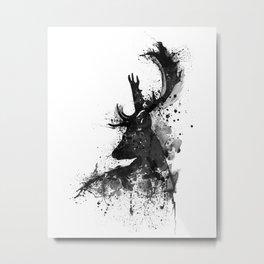 Deer Head Watercolor Silhouette - Black and White Metal Print