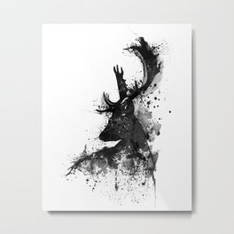 Deer Head Watercolor Silhouette - Black and White Metal Print