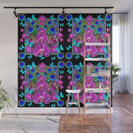 Four Panel Black Blue-Pink Orchids Butterflies Peacock Eyes Wall Mural