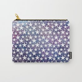 White stars on bold grunge blue background Carry-All Pouch