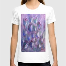Purple, Red and Blue Abstract Flowers T-shirt