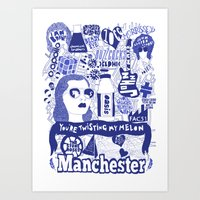manchester Art Prints featuring Manchester by leeann walker illustration
