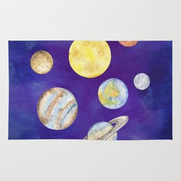 Watercolor Planets Set Illustration Rug