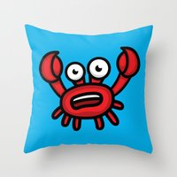 luigi Throw Pillows featuring Crab Luigi by Leon-Design
