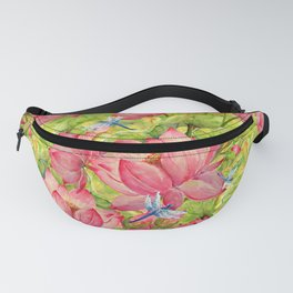 Floral Lotus Flowers Pattern with Dragonfly Fanny Pack