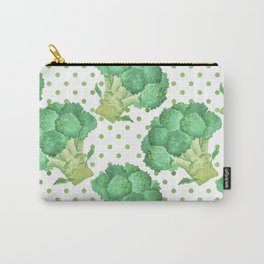 Broccoli on Green dotted Background Carry-All Pouch