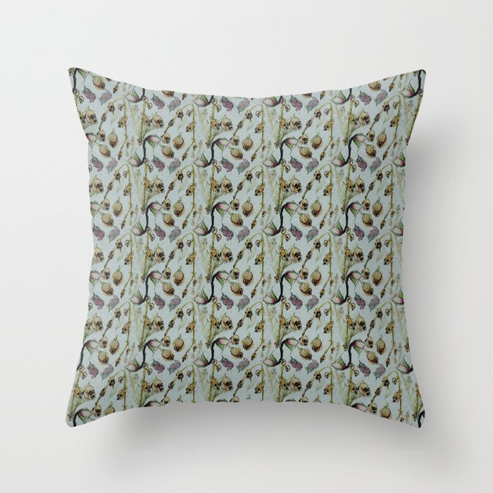 Dead Rose & Snapdragon Pattern Throw Pillow