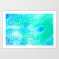 Beautiful Blue Turquoise Watercolor Art Print