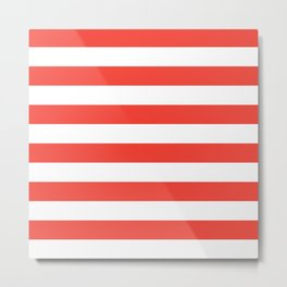 Even Horizontal Stripes, Red and White, L Metal Print