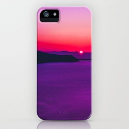 purple sunset in Fira Santorini iPhone Case