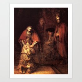 The Return of the Prodigal Son Painting By Rembrandt Art Print