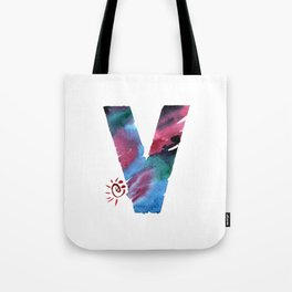 Watercolor hand drawn the letter V in blue colors. ABC. Monogram Tote Bag