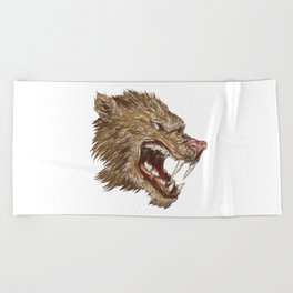 Head with sharp teeth Beach Towel