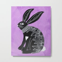 Folk Art Bunny Metal Print