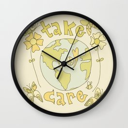 take care of mother earth // retro art by surfy birdy Wall Clock