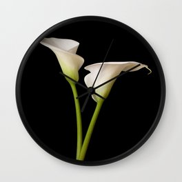Calla Lily on black Wall Clock