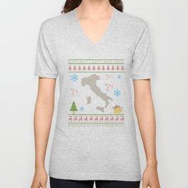 Italy Christmas Ugly Shirt Italian Shirt Unisex V-Neck