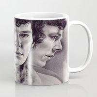 sherlock Mugs featuring Sherlock by KatePowellArt