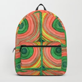 Grid with Psychedelic Rings Backpack