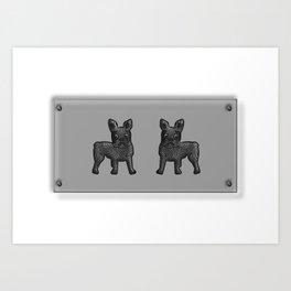 Black and White French Bulldog Twins Art Print