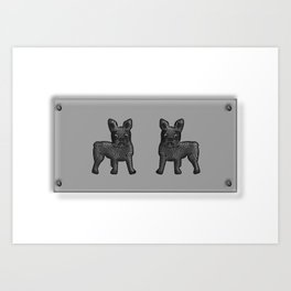 Black and White French Bulldog Twins Art Print