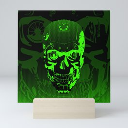 Gamer Skull CARTOON GREEN / 3D render of cyborg head Mini Art Print