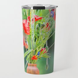 Bunch of of red poppies, cornflowers and ears of barley, wheat and rye on the table. Travel Mug