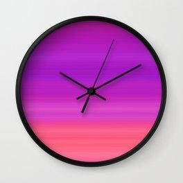 Orange & Purple Stripes | Bright ombre gradient pattern Wall Clock