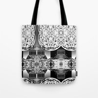 buildings Tote Bags featuring Buildings by Spew Jersey