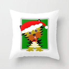 Christmas Yorkshire Terrier Cartoon Throw Pillow