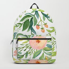 Happy Coral Pink + Green Rose Garden Backpack