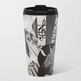 Black and White Painted Collage Travel Mug