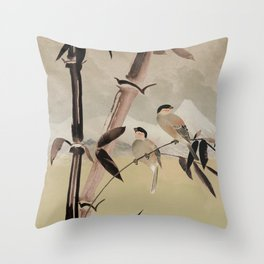 Two Birds in Bamboo Tree Throw Pillow
